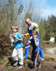 Beni Humbel mit Tochter und Sohn am Badener-OL